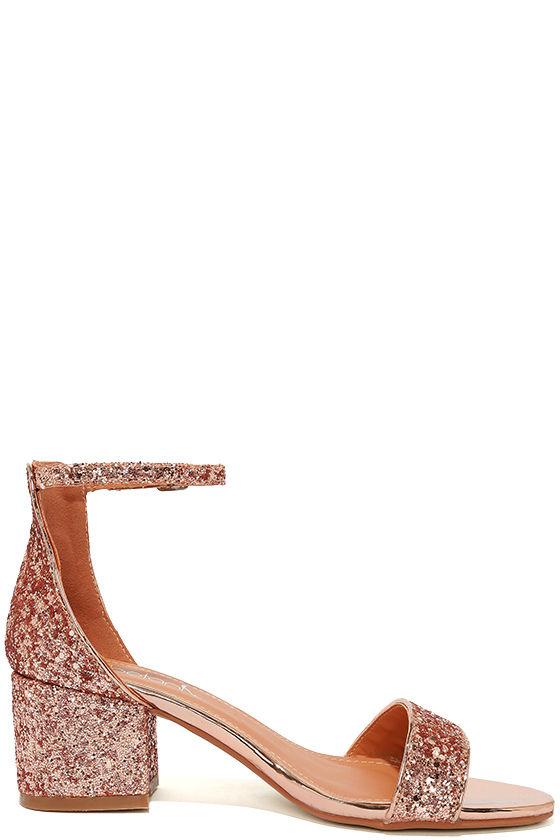 Reunion Pink Glitter Ankle Strap Heels 4