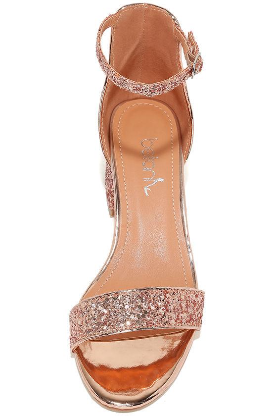 Reunion Pink Glitter Ankle Strap Heels 5