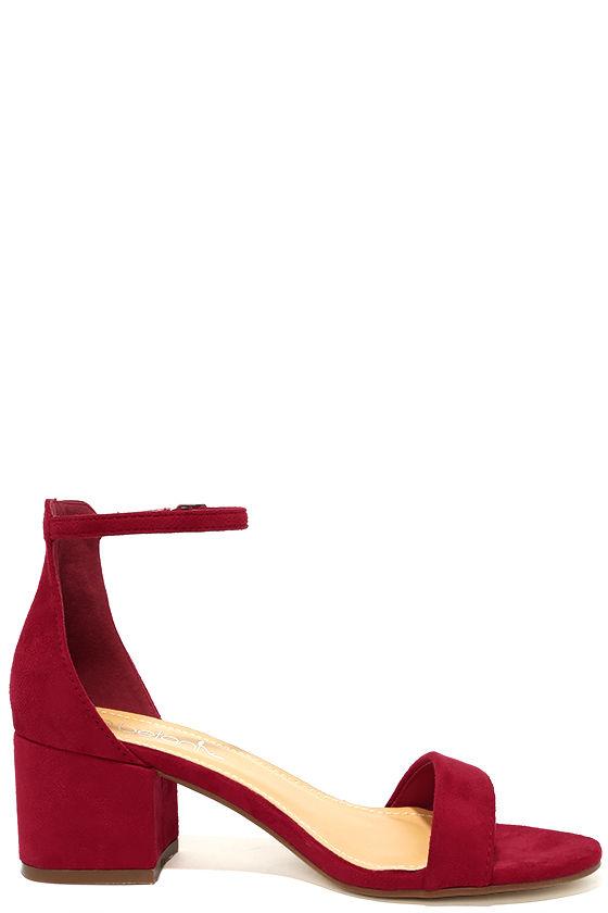 Cute Red Suede Heels - Single Sole Heels - Ankle Strap Heels - $29.00