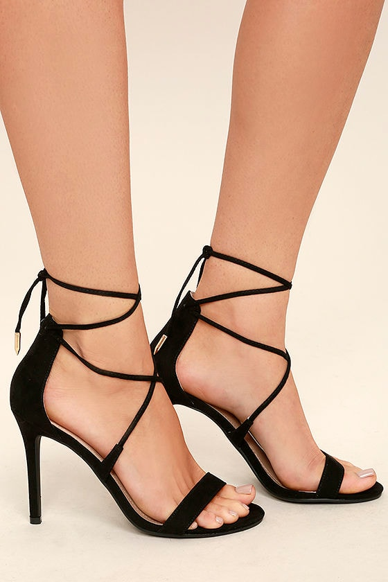 Chic Black Heels - Single Sole Heels - Suede Lace-Up Heels - Vegan ...