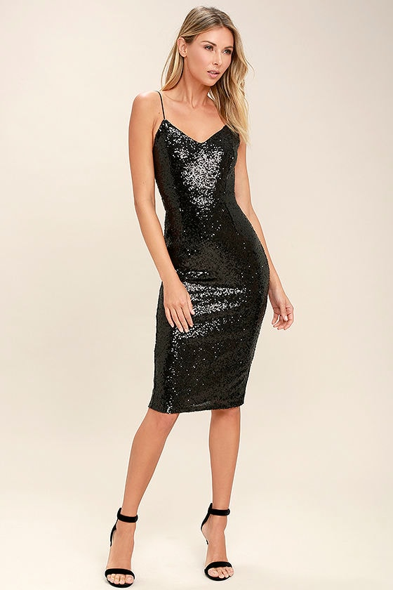 867e32f33 Sexy Black Dress - Sequin Dress - Bodycon Dress - LBD - Midi Dress ...