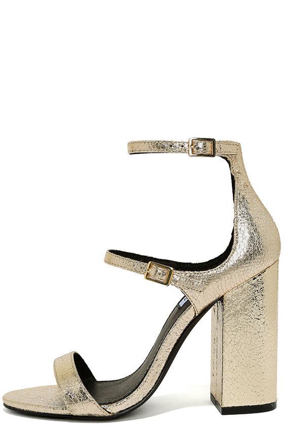 d8942d0c7820 Steve Madden Parrson - Gold Ankle Strap Heels - Metallic Heels ...