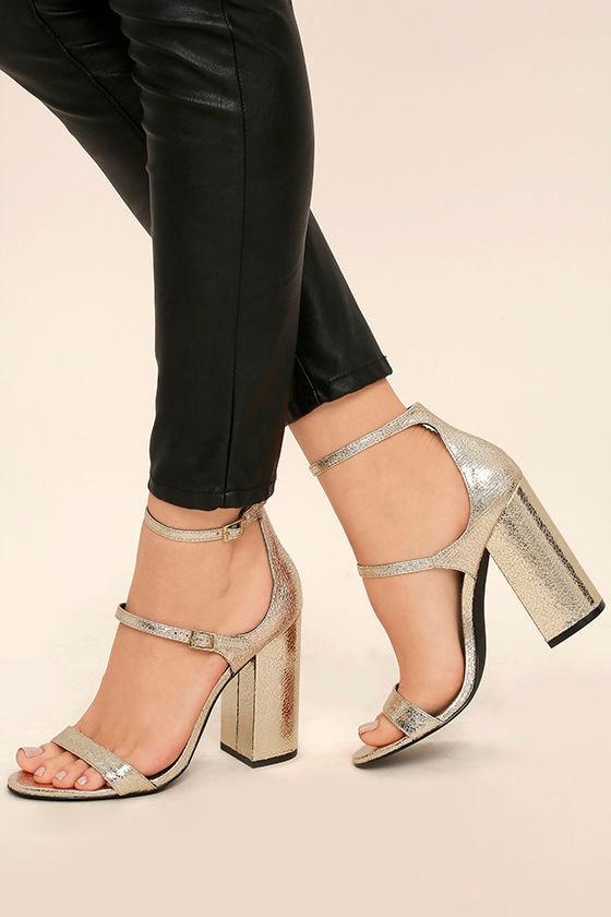 a0f06a5e5676 Steve Madden Parrson - Gold Ankle Strap Heels - Metallic Heels - Block Heels  -  99.00