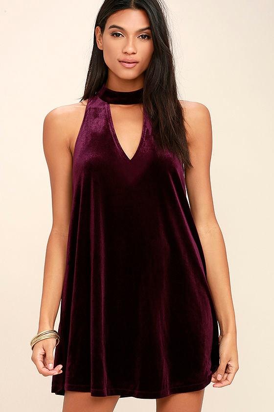 Lovely Plum Purple Dress - Velvet Dress - Swing Dress - $46.00