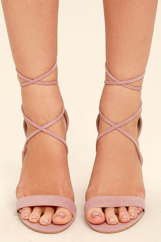 Aimee Dusty Rose Suede Lace-Up Heels 2