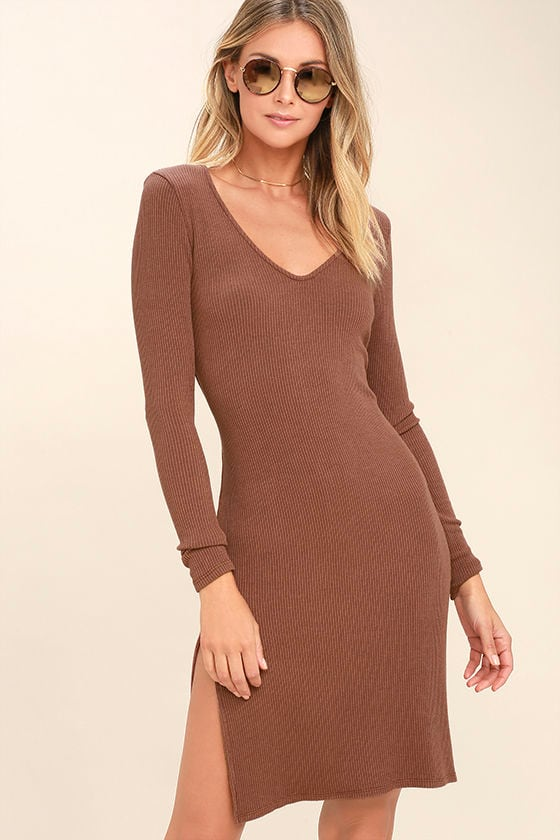 Project Social T Beverly Light Brown Long Sleeve Bodycon Dress