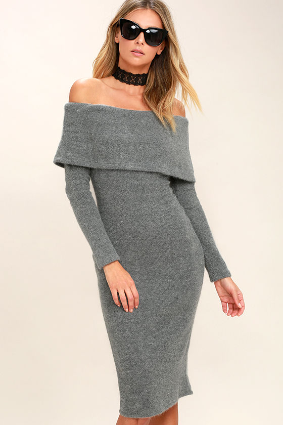 a3894152cde0 Chic Grey Dress - Sweater Dress - Off-The-Shoulder Dress - Midi Dress -   102.00