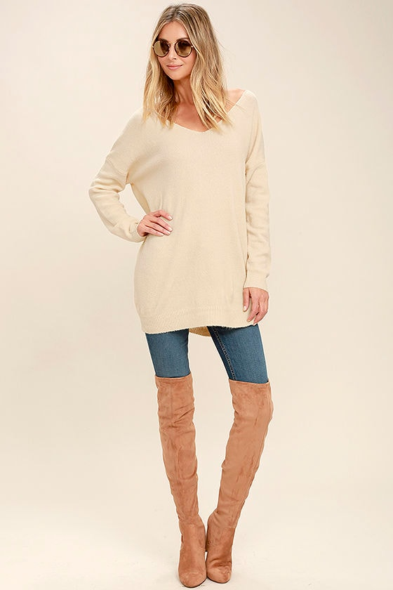 All Time Best Beige Backless Sweater 2