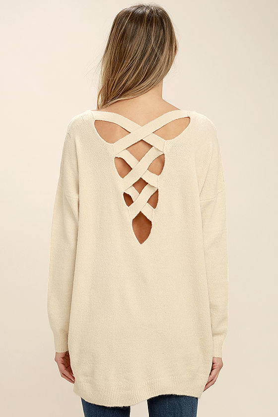 All Time Best Beige Backless Sweater 4