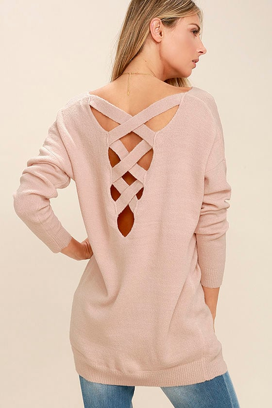 Cute Blush Pink Sweater - Backless Sweater - Lace-Up Sweater - $45.00