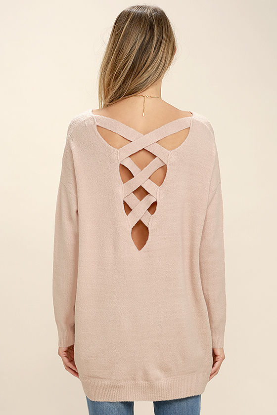 All Time Best Blush Pink Backless Sweater 4