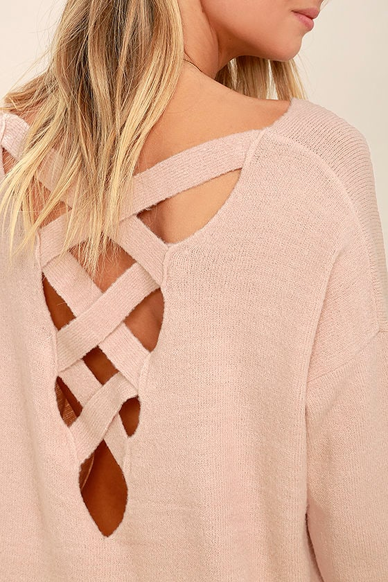 All Time Best Blush Pink Backless Sweater 5
