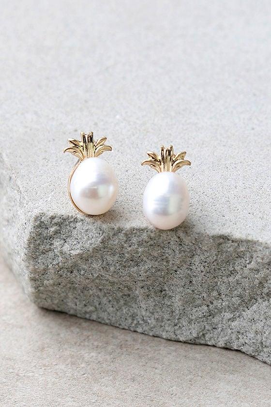 Fancy Fruit Gold and Pearl Pineapple Earrings 1