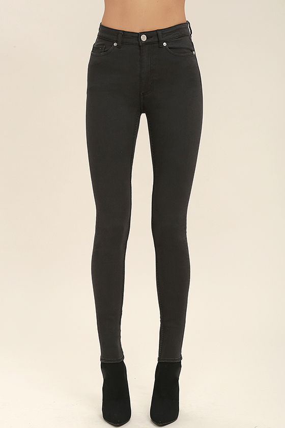 Cheap Monday High Snap Jeans - Washed Black Jeans - Skinny Jeans ...