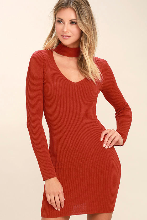 Sexy Rust Red Dress - Sweater Dress - Bodycon Dress - Cutout Dress ...