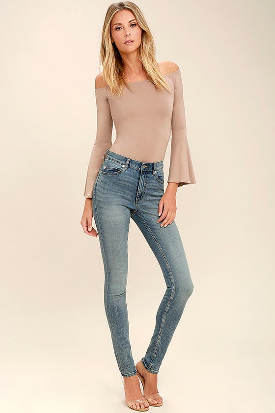 Cheap Monday Second Skin Jeans - Medium Wash Jeans - High-Waisted ...