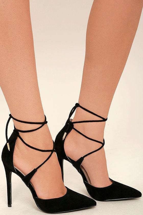 Chic Black Heels - Vegan Suede Heels - Lace-Up Heels - $36.00