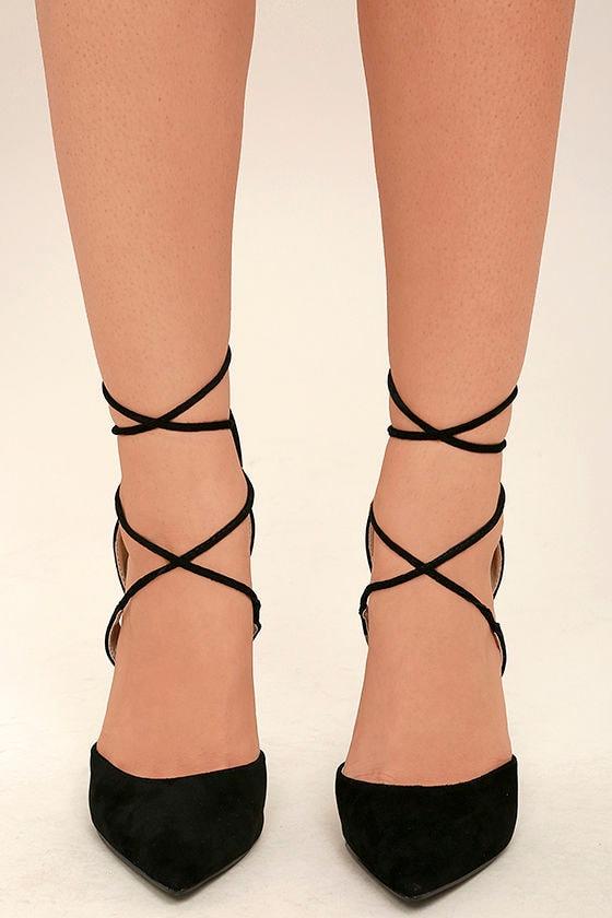 Dani Black Suede Lace-Up Heels 2