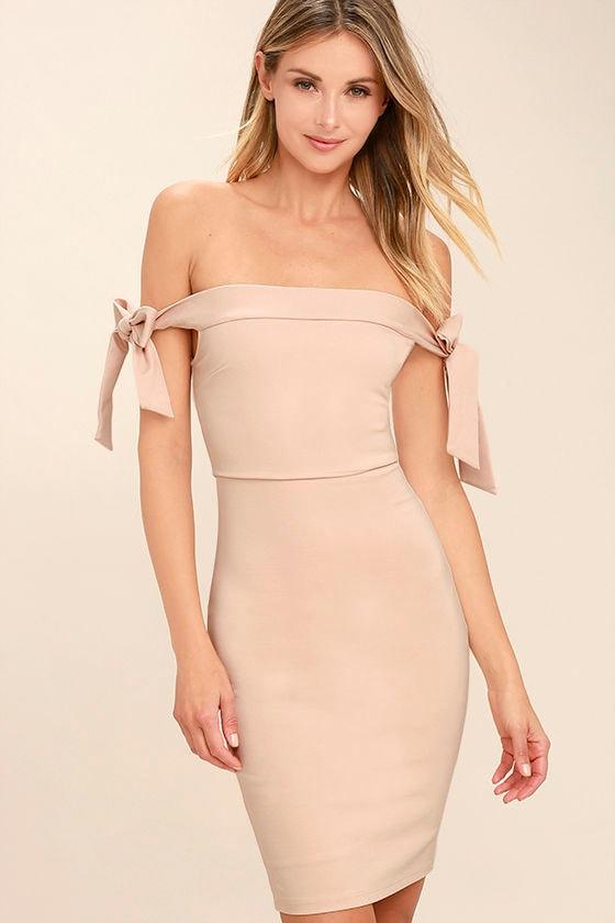 Sexy Blush Pink Dress - Off-the-Shoulder Dress - Bodycon Dress - $52.00
