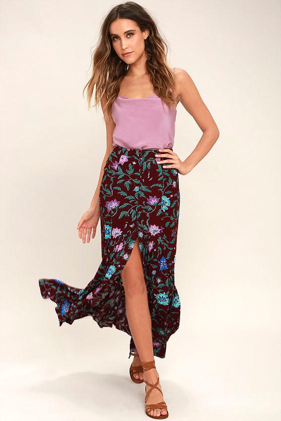Cute Plum Purple Floral Print Skirt - Maxi Skirt - Mermaid Maxi ...