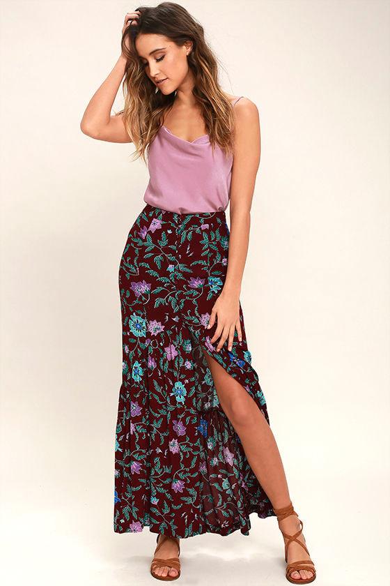 0a779f36ba68 Cute Plum Purple Floral Print Skirt - Maxi Skirt - Mermaid Maxi ...