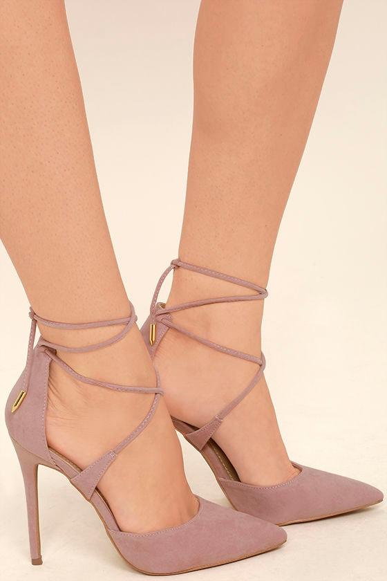 Dani Dusty Rose Suede Lace-Up Heels 2