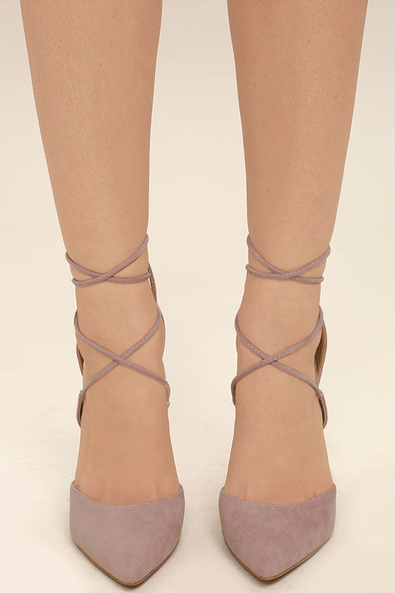 Dani Dusty Rose Suede Lace-Up Heels 3
