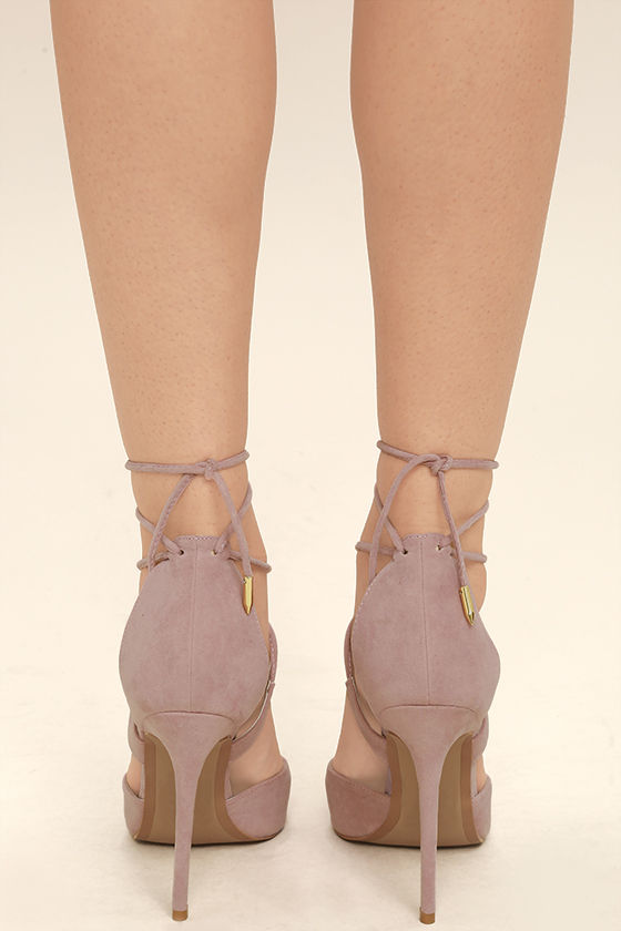 Dani Dusty Rose Suede Lace-Up Heels 4