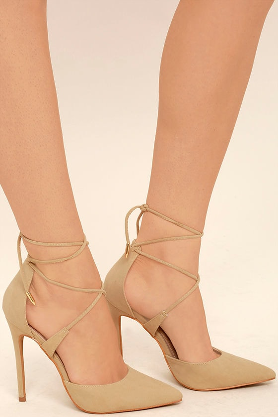 Chic Nude Heels - Vegan Suede Heels - Lace-Up Heels - $36.00