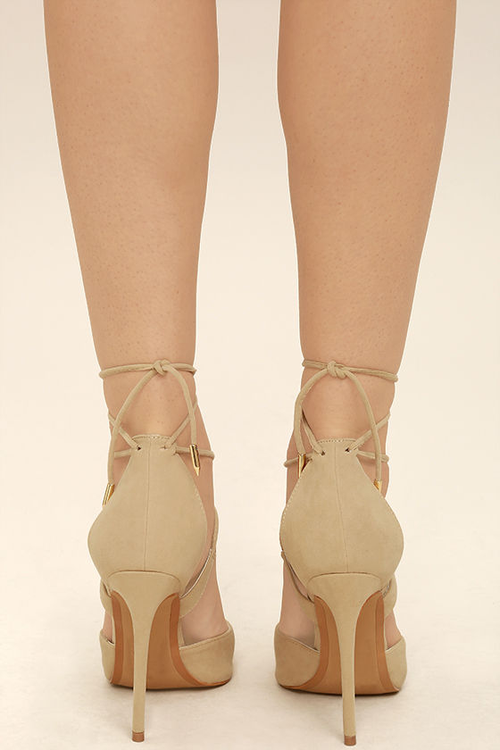 Dani Nude Suede Lace-Up Heels 4