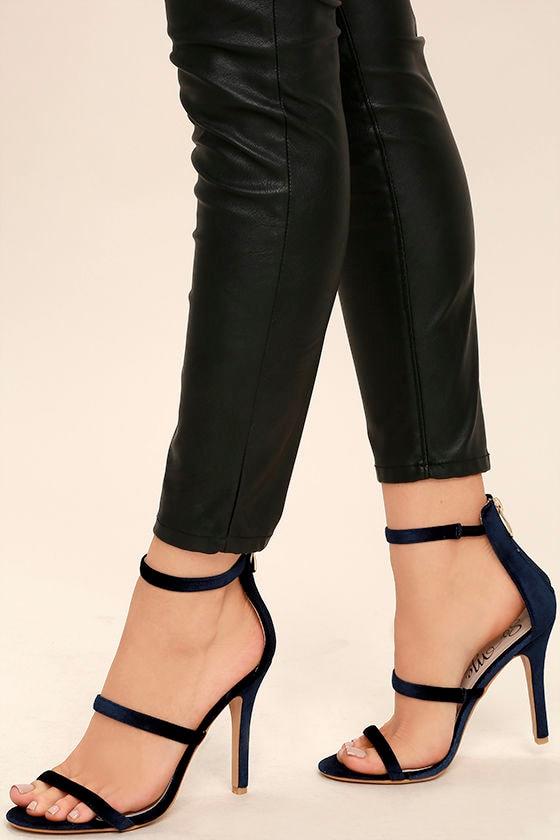 Makena Navy Velvet High Heel Sandals 1