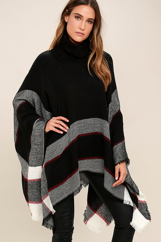 Cute Red And Black Plaid Poncho Turtleneck Poncho Knit