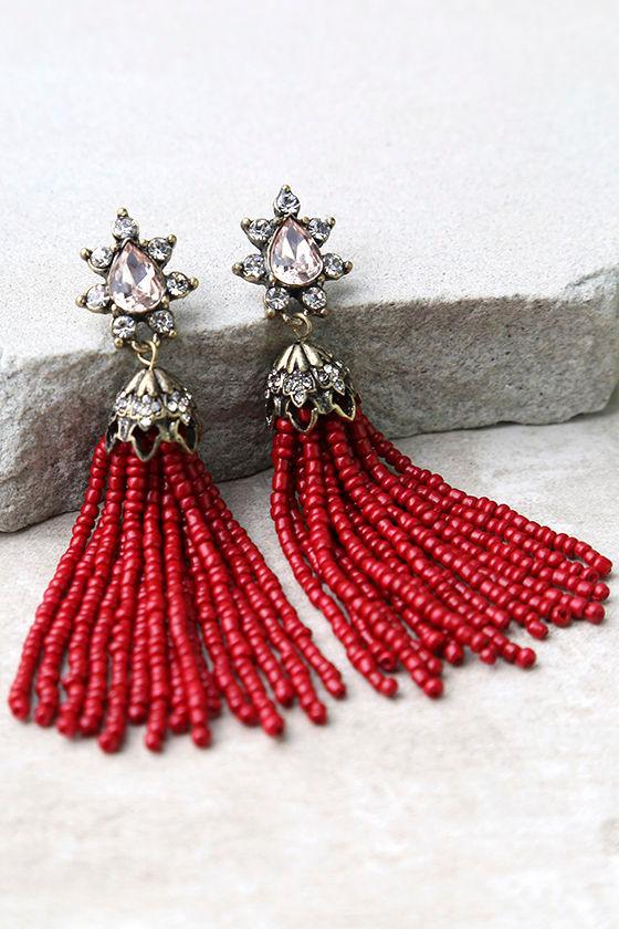 Faithfully Red Beaded Tassel Earrings 2