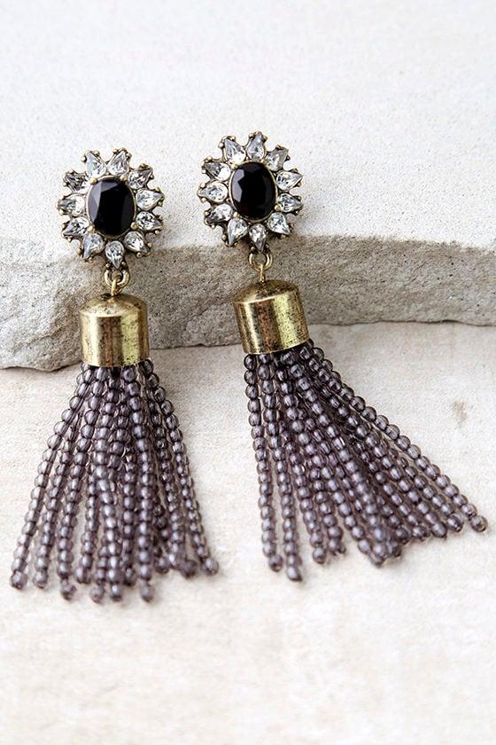 Silent Film Star Black and Grey Beaded Tassel Earrings 1