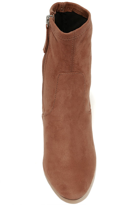 Steve Madden Edit Camel Suede High Heel Mid-Calf Boots 5