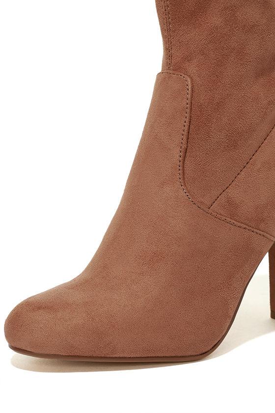 Steve Madden Edit Camel Suede High Heel Mid-Calf Boots 6