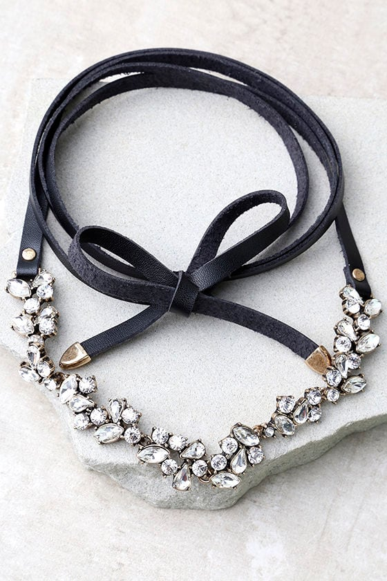 Telekinetic Black Rhinestone Wrap Necklace 1