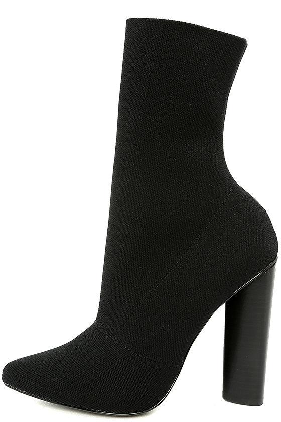 9cc20f68d35 Steve Madden Capitol Black - Sock Boots - Knit Boots - Mid-Calf Boots