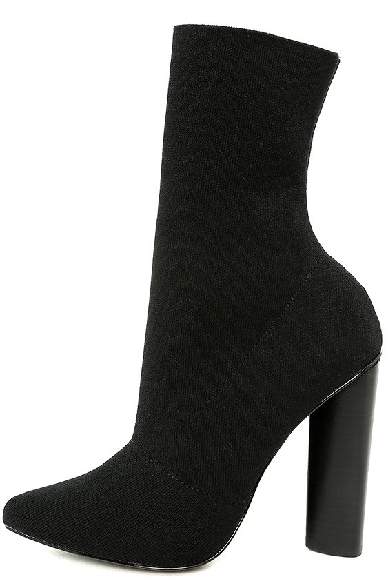 Steve Madden Capitol Black Knit Mid-Calf High Heel Boots 1