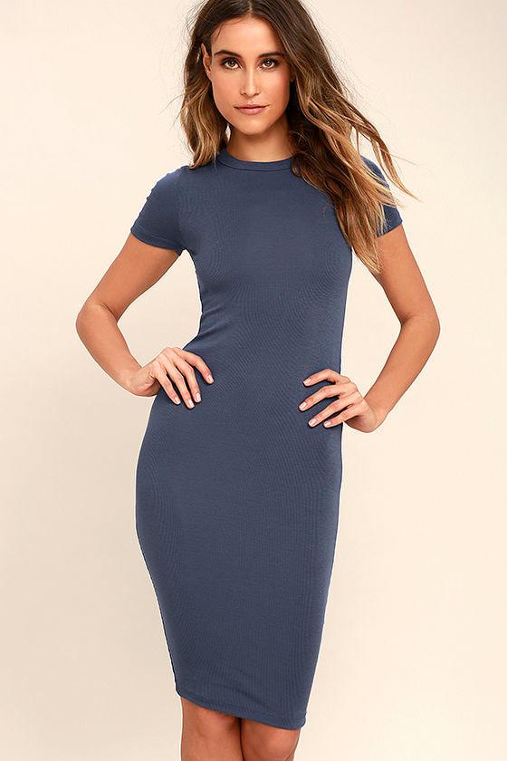 c81d46ceca Cute Slate Blue Dress - Bodycon Dress - Midi Shirt Dress