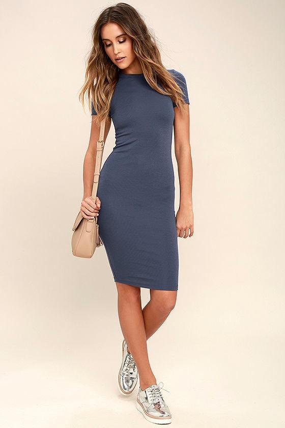 Like Minded Slate Blue Bodycon Midi Dress 2