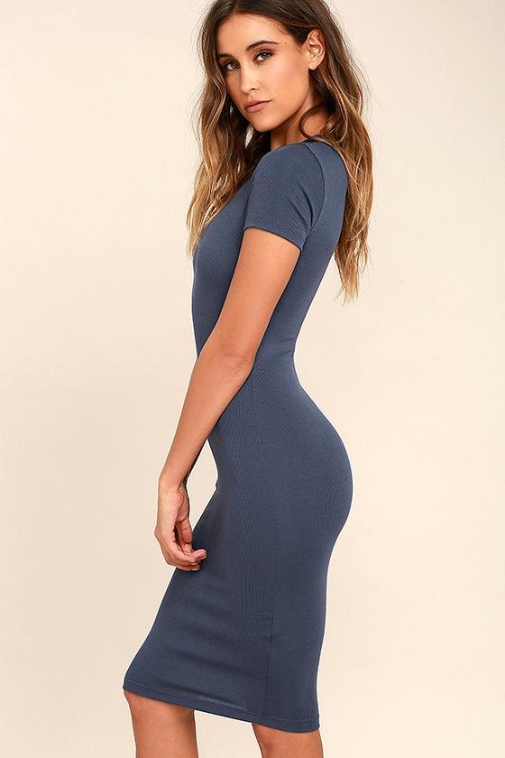 Like Minded Slate Blue Bodycon Midi Dress 3