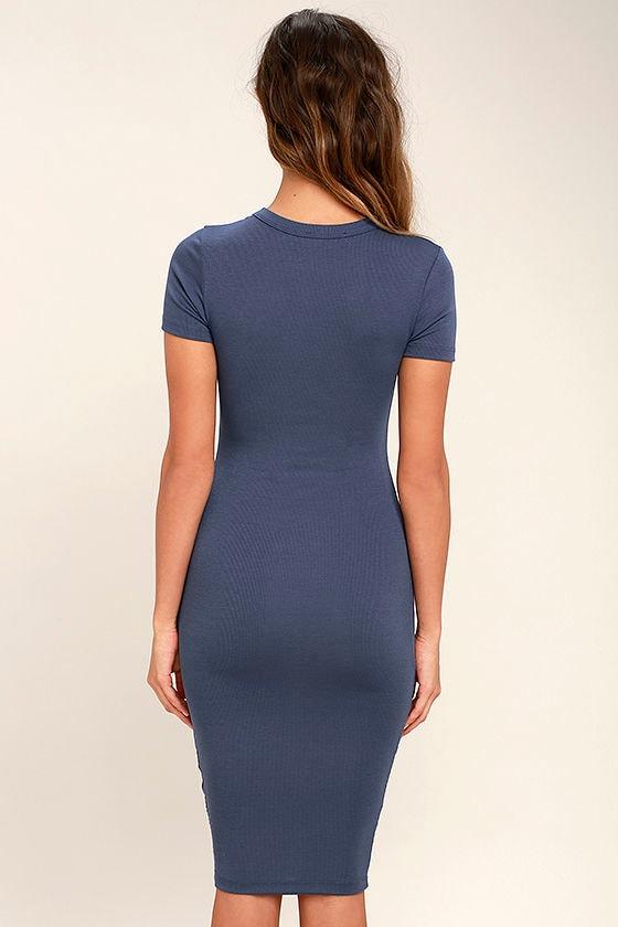 Like Minded Slate Blue Bodycon Midi Dress 4