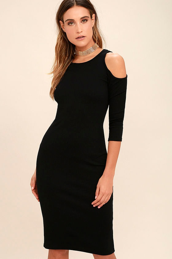 124aa78d4a32 Stylish Black Dress - Midi Dress - Cold Shoulder Dress - Bodycon Dress -  $42.00
