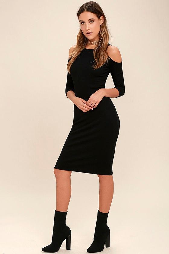 b23fb65b53 Stylish Black Dress - Midi Dress - Cold Shoulder Dress - Bodycon ...