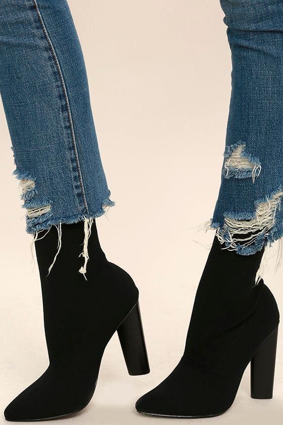 d61562616 Steve Madden Capitol Black - Sock Boots - Knit Boots - Mid-Calf Boots