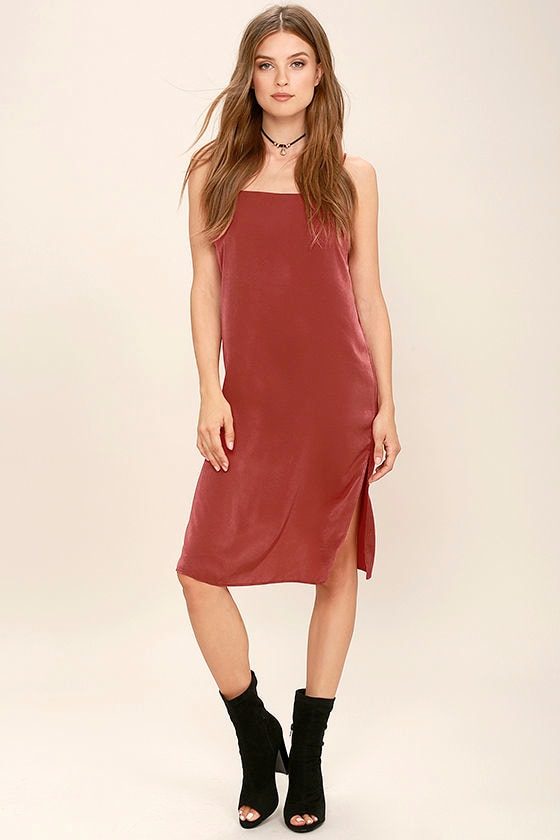 In Action Rust Red Satin Slip Dress 2