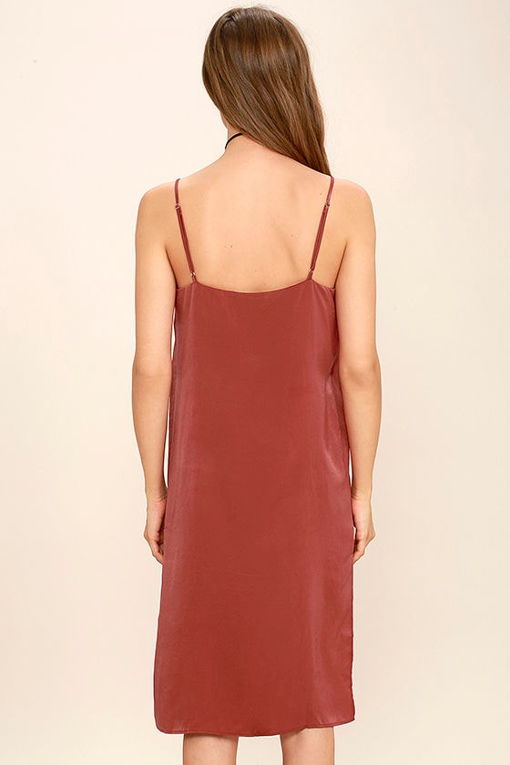 In Action Rust Red Satin Slip Dress 4