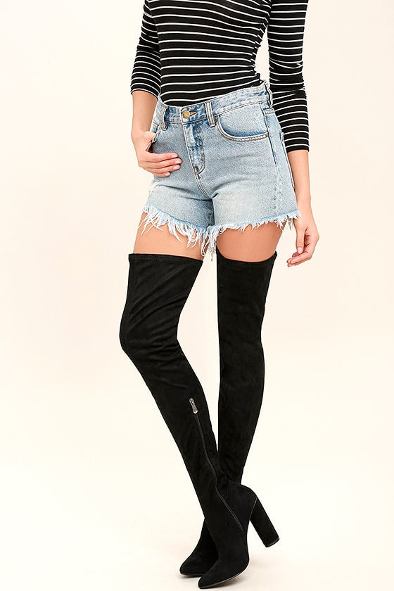 82a27aee62 Sexy Black Thigh High Boots - Vegan Suede Thigh High Boots - OTK Boots -  $63.00
