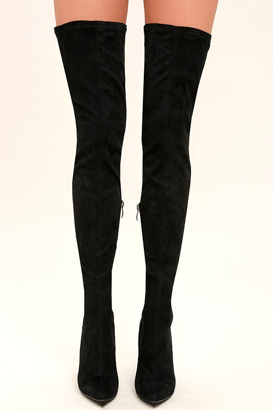 Sexy Black Thigh High Boots - Vegan Suede Thigh High Boots - OTK ...